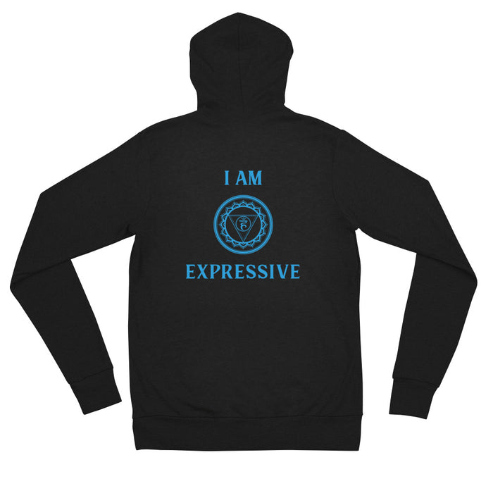 Fifth Chakra - I am Expressive - Unisex zip hoodie