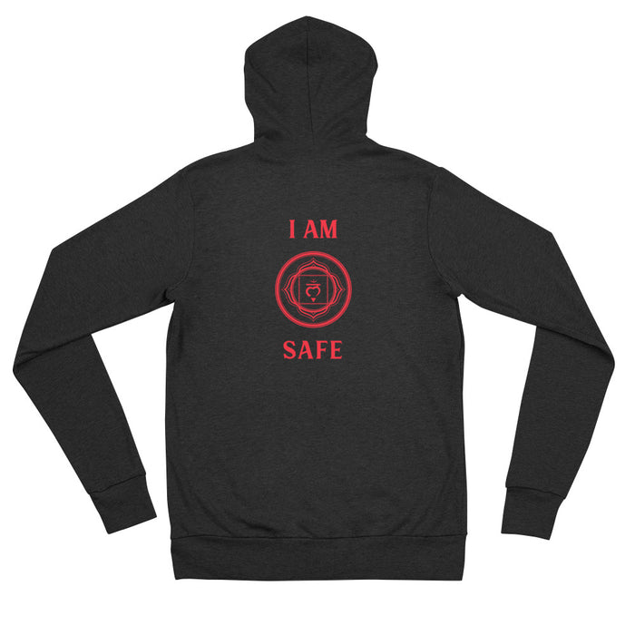 First Chakra - I am Safe - Unisex zip hoodie
