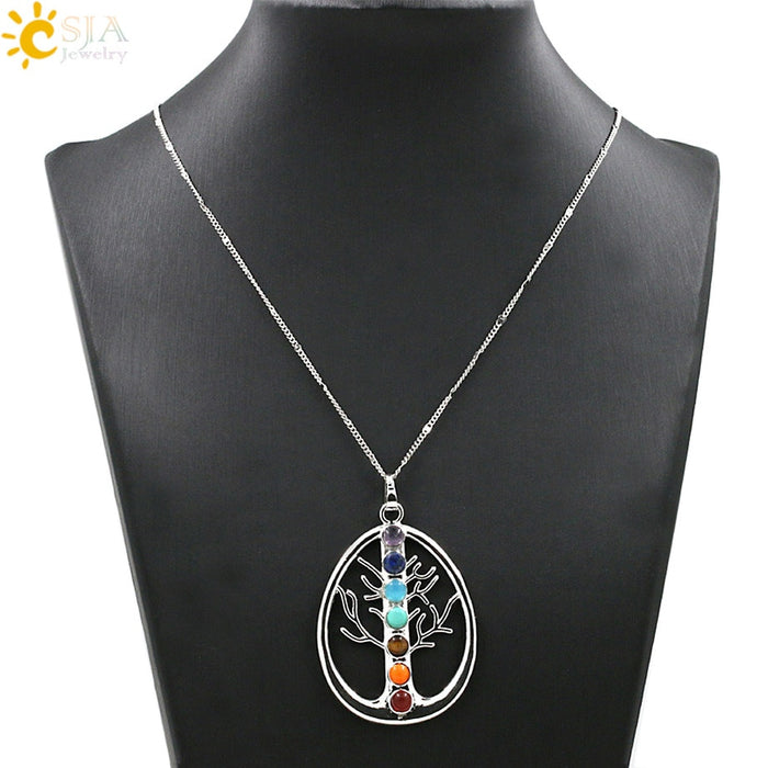 Tree of Life 7 Chakra Stones Pendant Necklace
