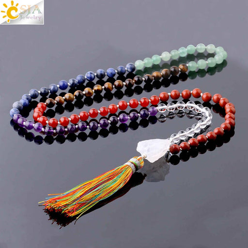 Natural Stone 7 Chakra Long Necklace White Crystal Tassel Pendant Knotted Weave