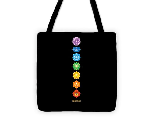 7 Chakras On Black - Tote Bag