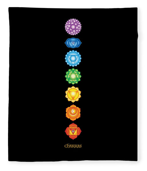 7 Chakras On Black - Blanket