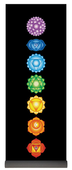 The 7 Chakras On Black - Yoga Mat
