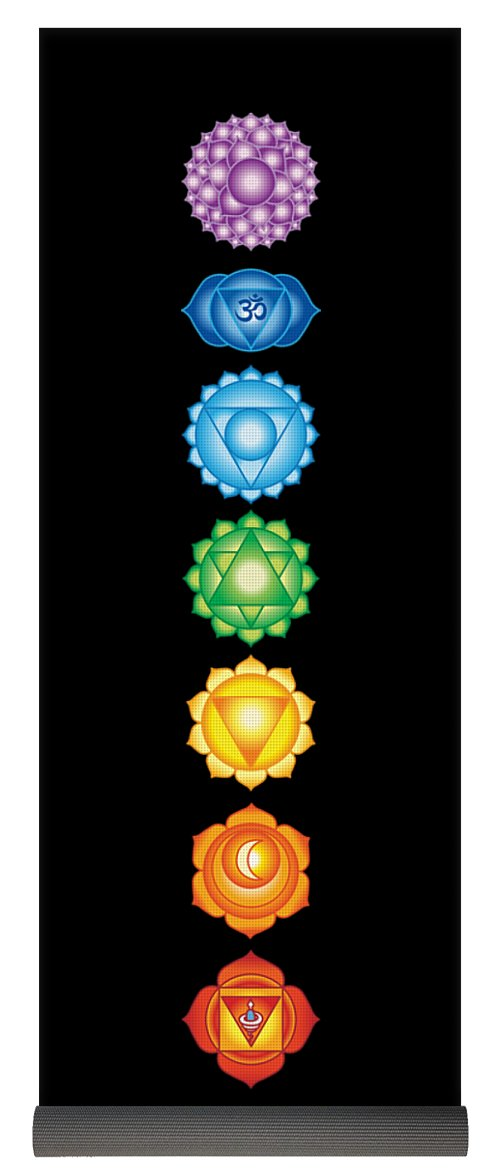 7 Chakras On Black - Yoga Mat