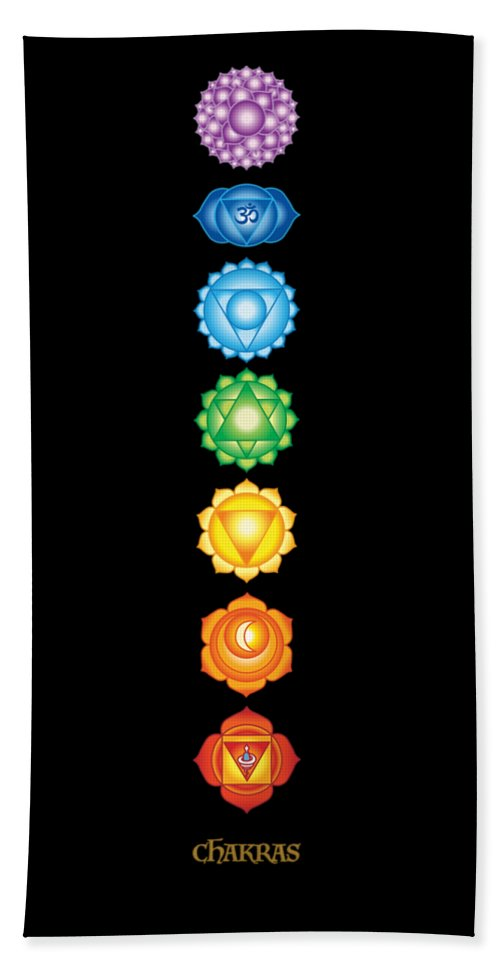 7 Chakras On Black - Bath Towel