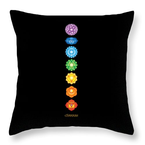 The 7 Chakras On Black - Throw Pillow