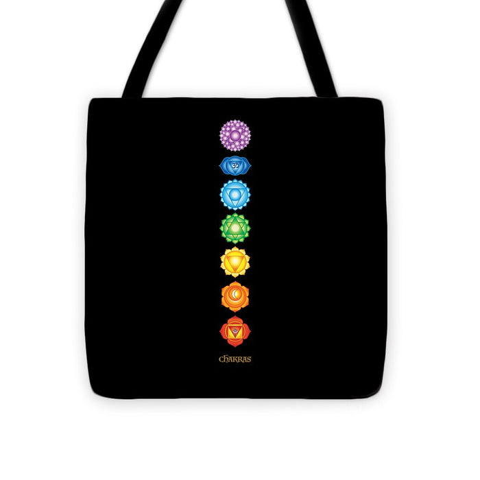 The 7 Chakras On Black - Tote Bag