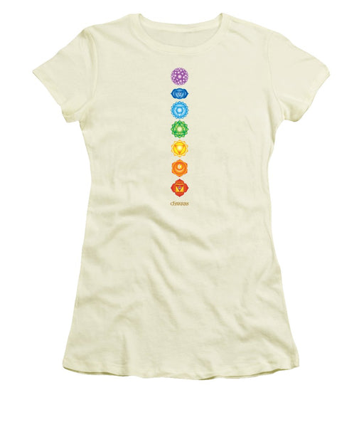 The 7 Chakras On Black - Women's T-Shirt (Athletic Fit)