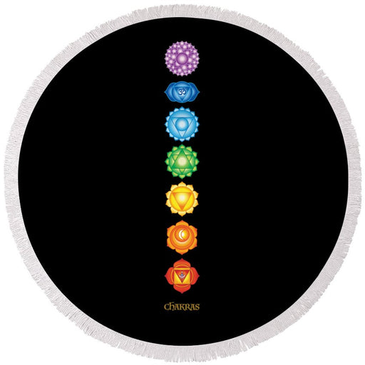 7 Chakras On Black - Round Beach Towel