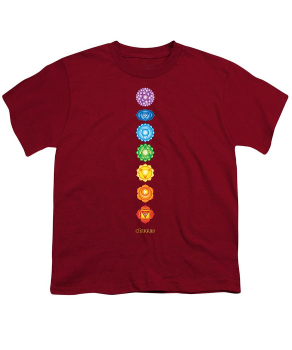 The 7 Chakras On Black - Youth T-Shirt