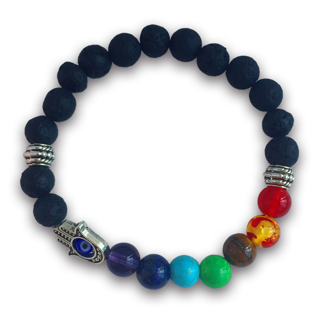 7 Chakras Real Lava Stone Bracelet for Women and Men - Helps Balance Chakras–Healing, Yoga & Meditation