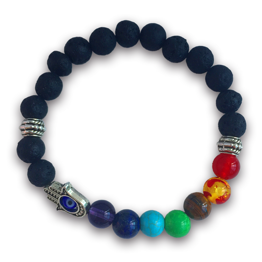 7 Chakras Real Lava Stone Bracelet with Evil Eye for Women and Men