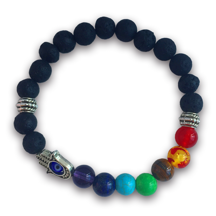 7 Chakras Real Lava Stone Bracelet with Evil Eye for Women and Men - Helps Balance Your Chakras - Healing, Yoga, Meditation, Grounding, Self Confidence, Energy and Protection