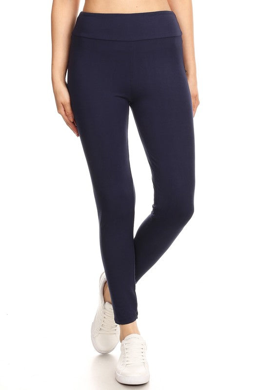 Fleece Lined Leggings - Navy