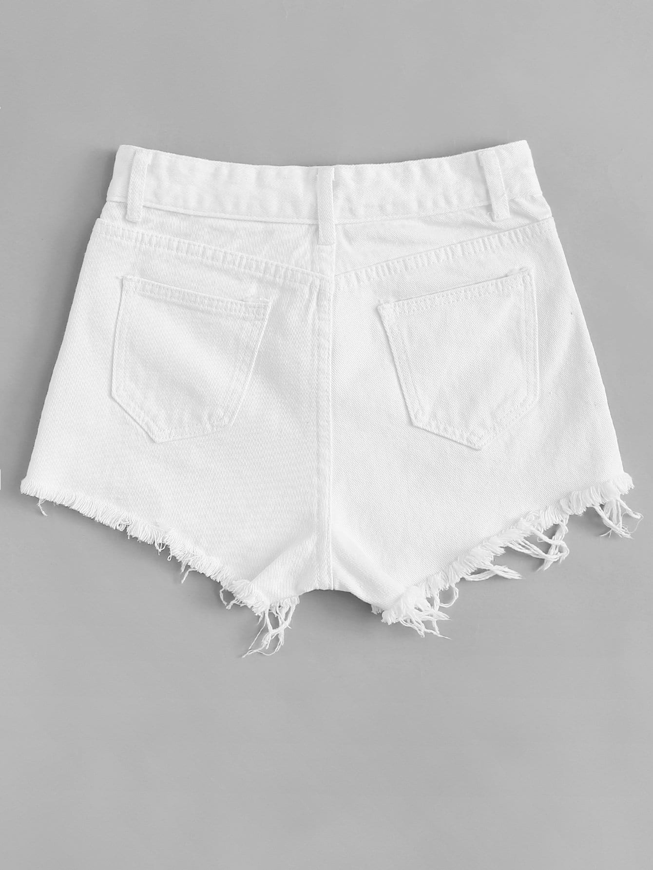 White Mid Waist Frayed Hem Denim Short