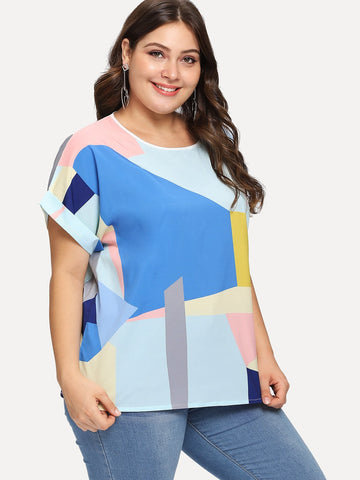 Patchwork Roll Up Sleeve Plus Size Top