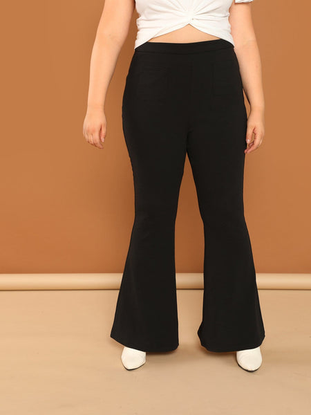 Plus Size Black Pocket Front Flared Pant