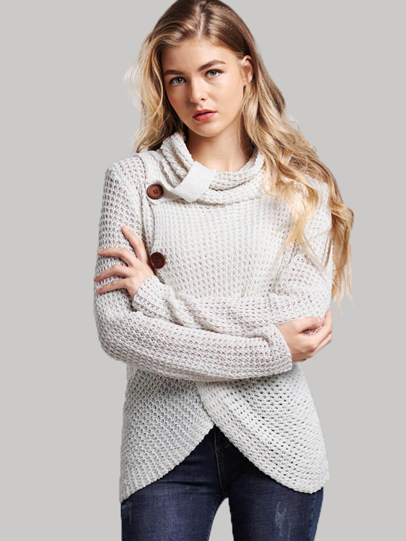 White High Neck Overlap Sweater | Sweater | SHEIN | Joan & Vern's Apparel
