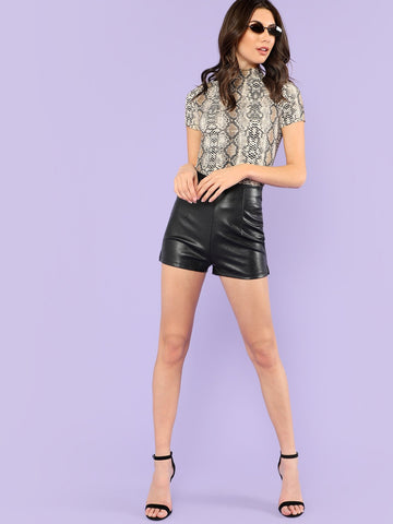 Mock Neck Snake Print Short Sleeve Top | Fashion Top | SHEIN | Joan & Vern's Apparel