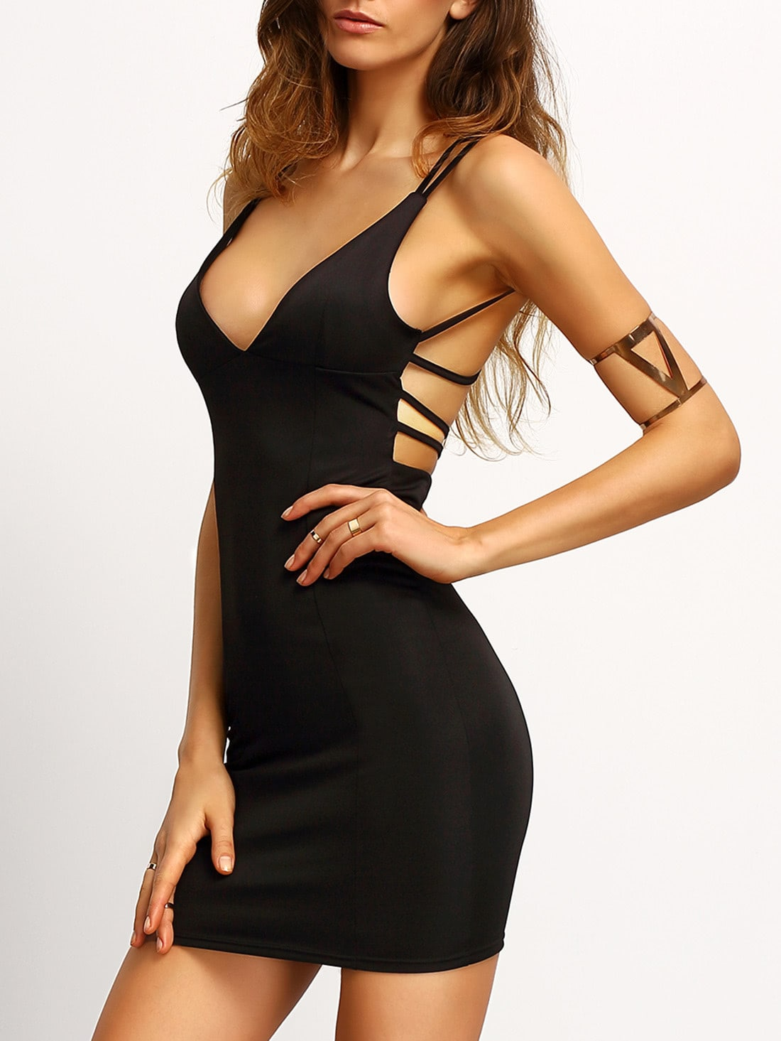 Black Deep V Neck Crisscross Back Mini Dress