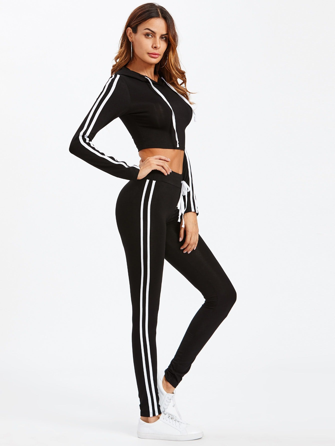 Black & White Cropped Hoodie & Pant Set | Two Piece | SHEIN | Joan & Vern's Apparel