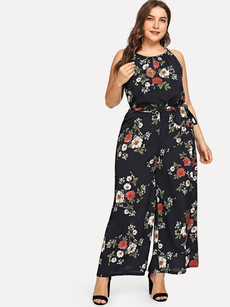 Plus Size Black Floral Print Belted Jumpsuit | plus size playsuit | SHEIN | Joan & Vern's Apparel