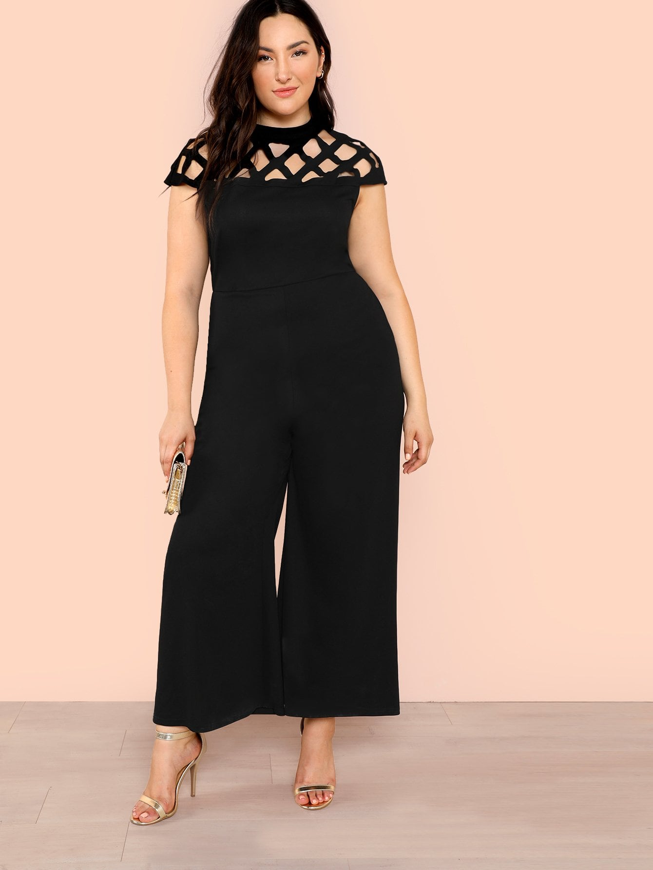 Plus Size Black Geo Cut Out Yoke Jumpsuit