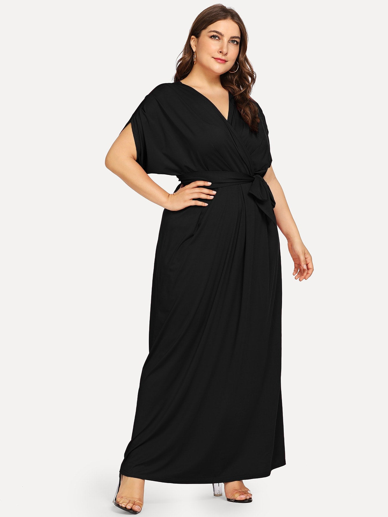 Plus Size Black Self Tie Maxi Dress
