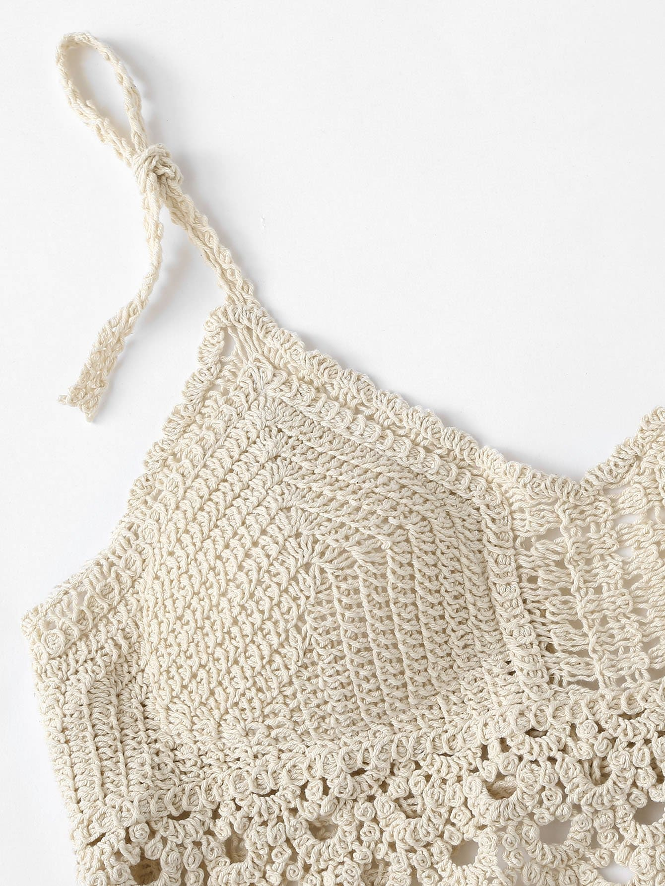 Beige Crocheted Halter Top