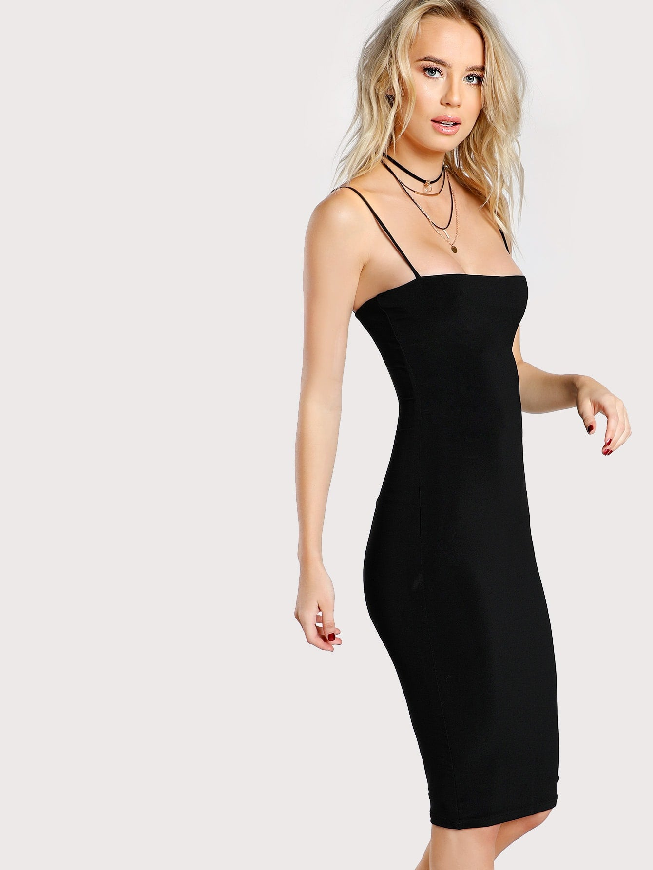Black Cami Bodycon Midi Dress | Knee-Length Dress | SHEIN | Joan & Vern's Apparel