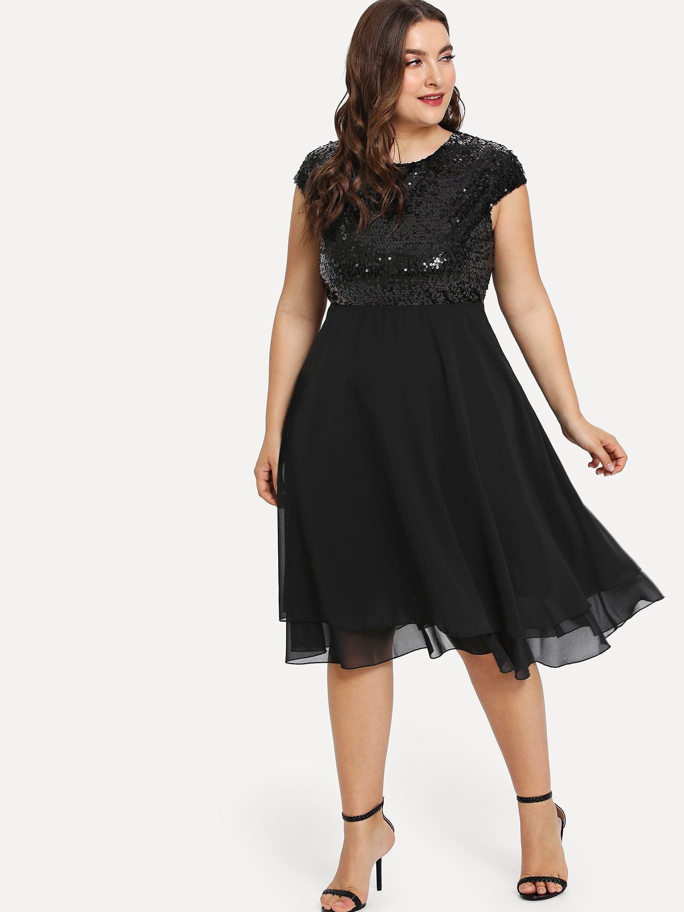 Plus Size Black Sequin Bodice Knee Length Dress | Plus Size Dresses ...