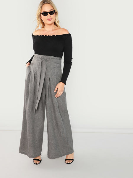Plus Size Grey Wide Leg Pleated Pant
