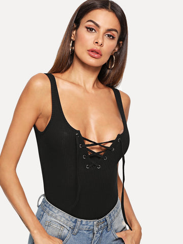 Black Sexy Lace Up Front Knit Bodysuit