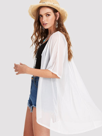 White Half Sleeve Sheer Kimono | Kimono | SHEIN | Joan & Vern's Apparel