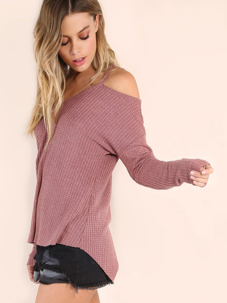 Cold Shoulder Waffle Knit Long Sleeve Top