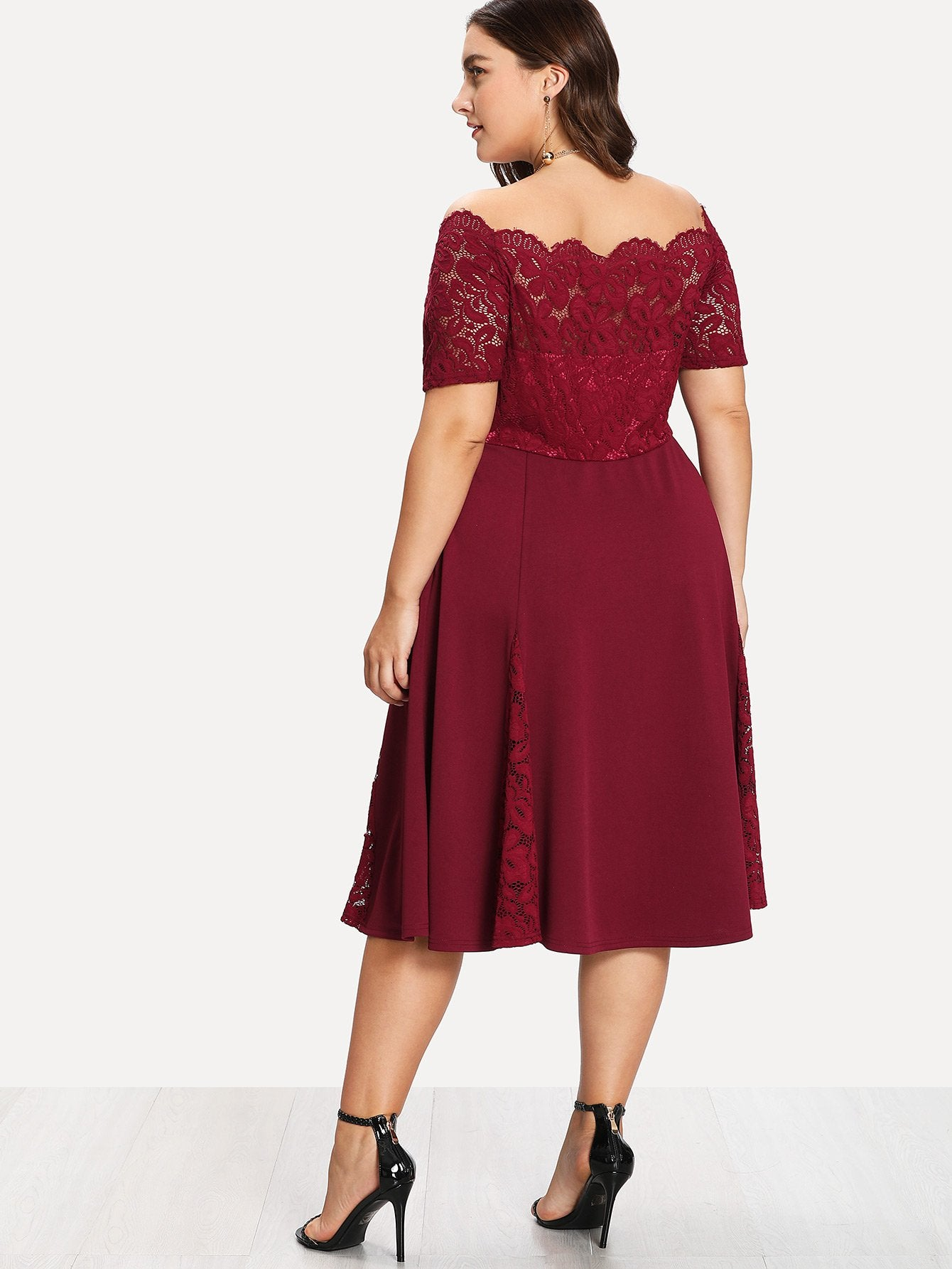 Plus Size Burgundy Lace Bodice Fit & Flare Dress