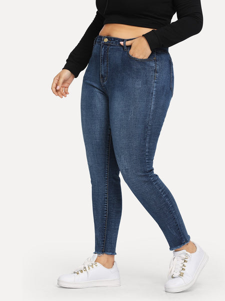 Raw Hem Plus Size Skinny Jean