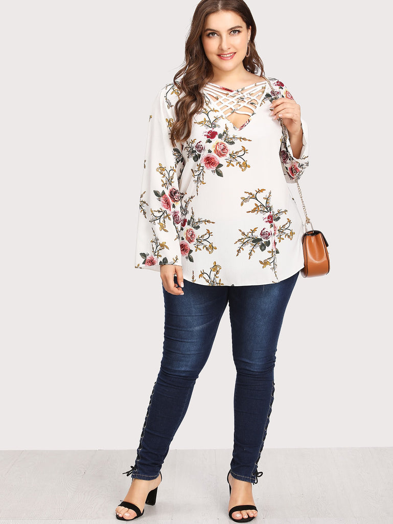 Plus Size Botanical Print Criss Cross Front Top | Plus Size Top | SHEIN | Joan & Vern's Apparel