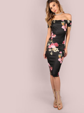 Off Shoulder Floral Bodycon Midi Dress