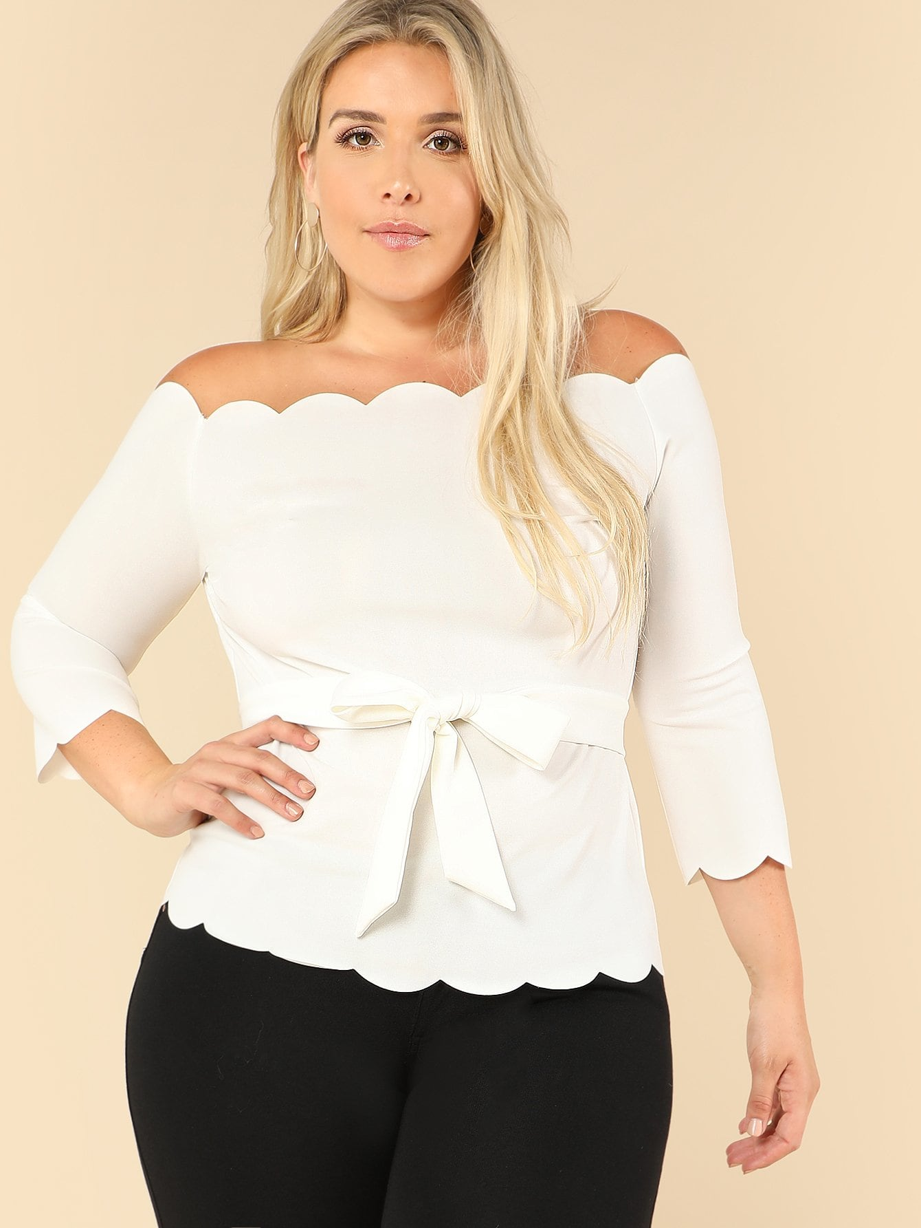 Plus Size Scallop Off The Shoulder Top
