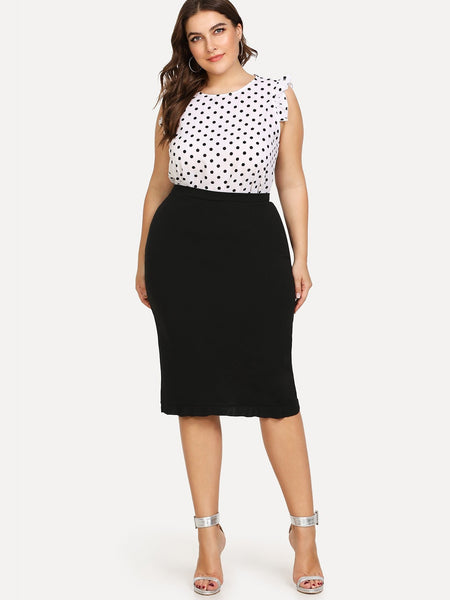 Plus Size Black Ruffle Hem Knee Length Skirt