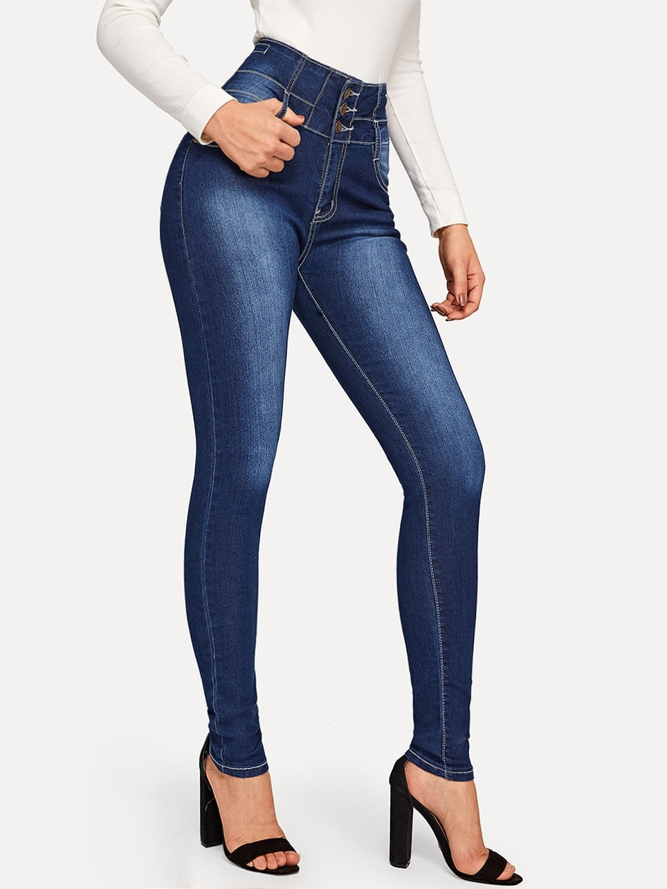 High Waist Button Fly Skinny Jean