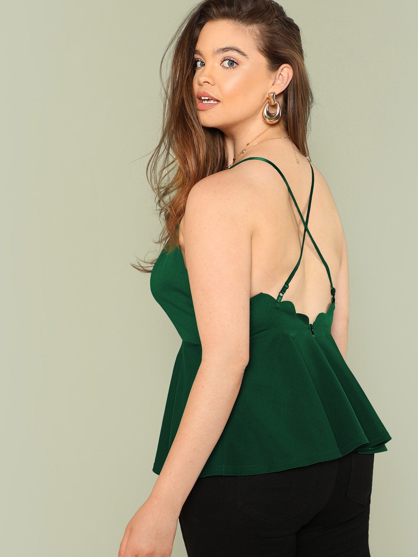Plus Size Deep V Neck Peplum Cami Top