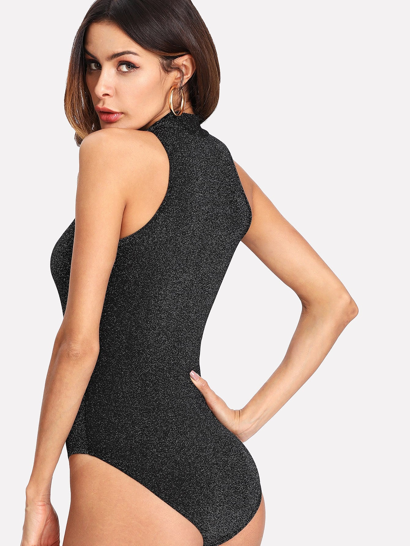 Black Sleeveless Glitter Bodysuit