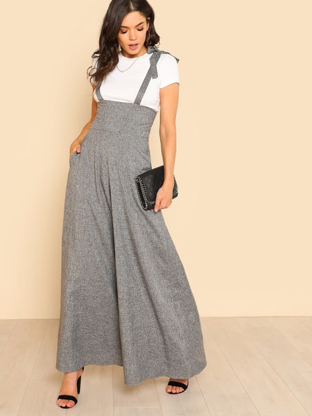 Grey Self Tie Strap Wide Leg Jumpsuit