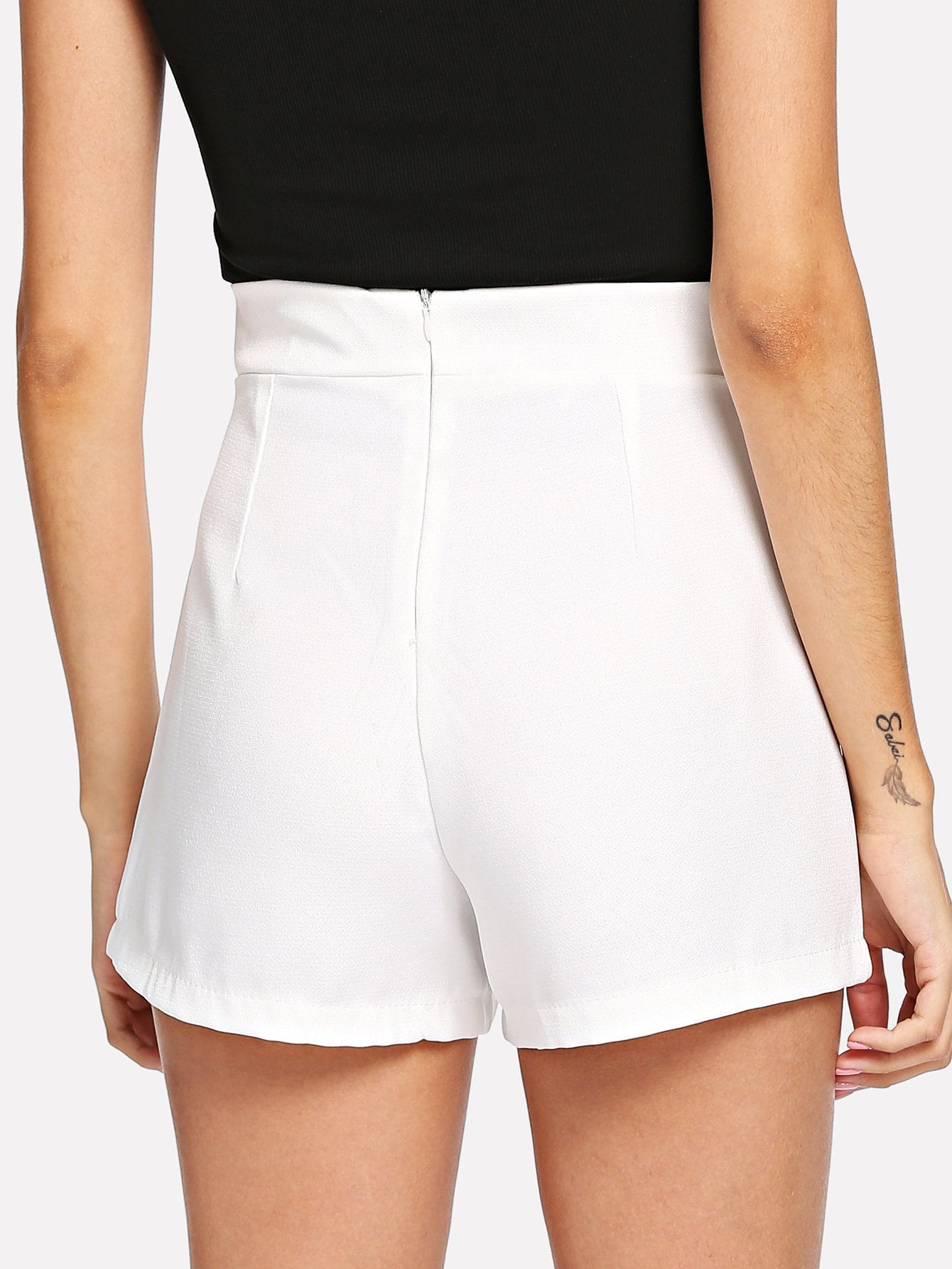 White Mid Waist Bow Tie Shorts