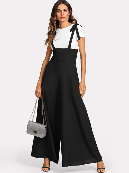 Black Self Tie Strap Wide Leg Jumpsuit