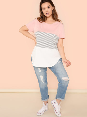 Plus Size Colorblock Curved Hem Tee