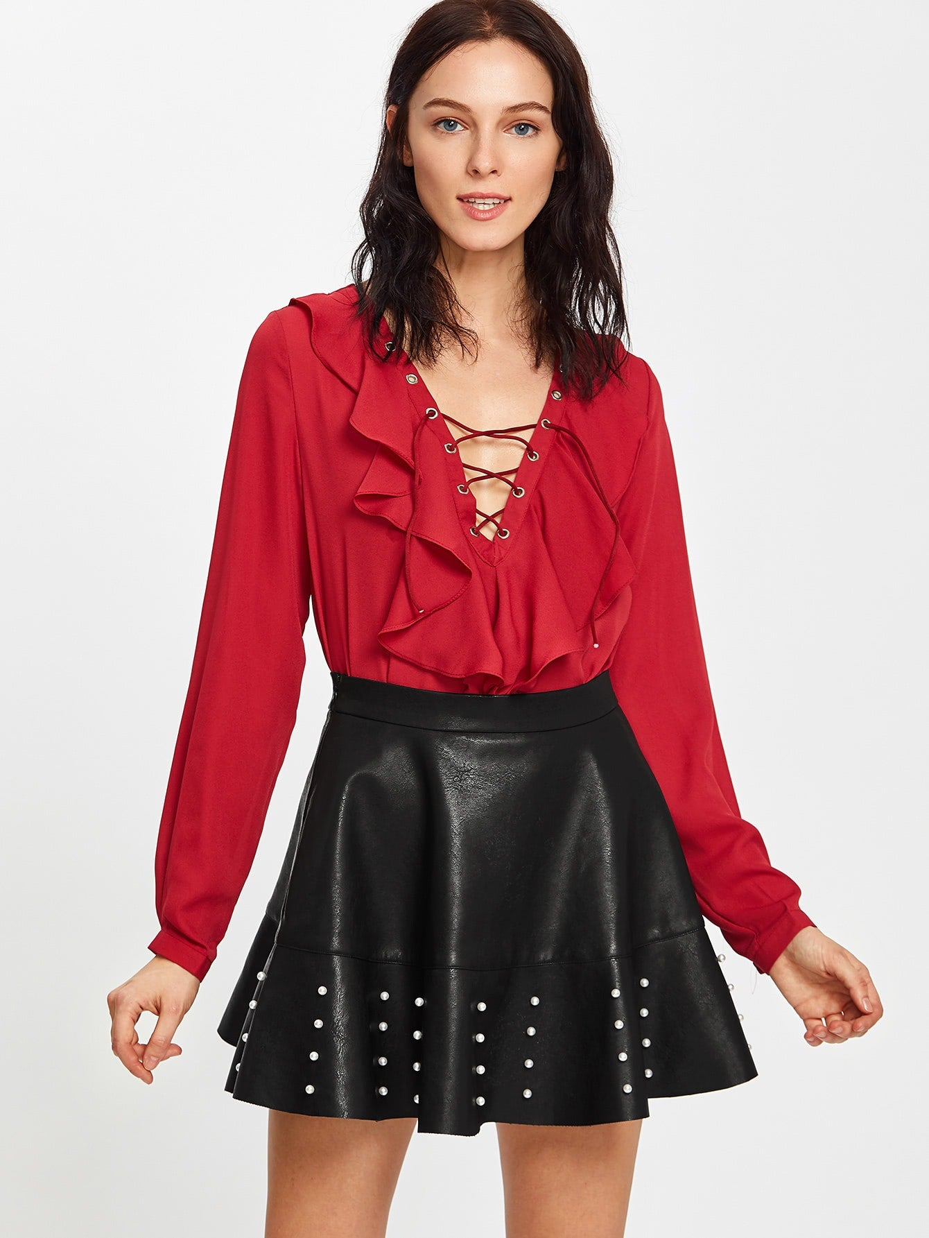 Black Faux Leather Pearl Embellished Skirt
