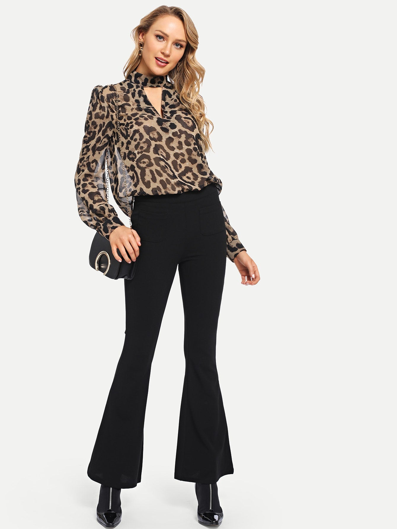 Leopard Print Choker Neck Blouse | Fashion Top | SHEIN | Joan & Vern's Apparel